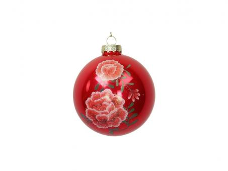 Weihnachtskugel Ornament Flowers, Farbe Rot