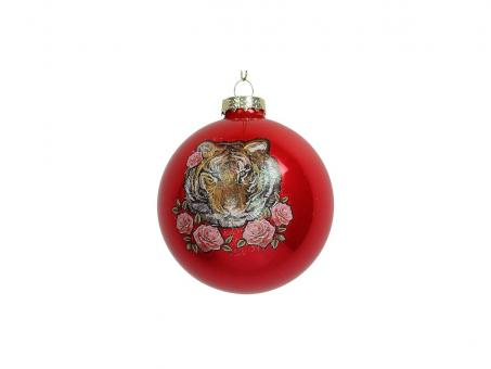 Weihnachtskugel Ornament Tiger, Farbe Rot