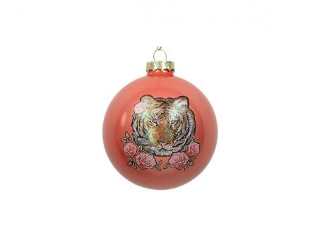 Weihnachtskugel Ornament Tiger, Farbe Pink