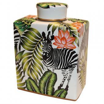 Porzellandose Zebra mit Deckel