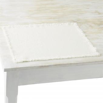 Set aus Stoff Colorado mit Franselkante, Farbe Weiß