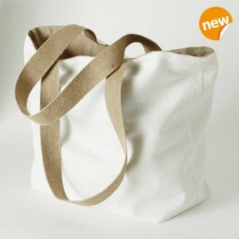 Shopper/Wendetasche aus Leinen und Baumwolle Farbe Weiß/Natur