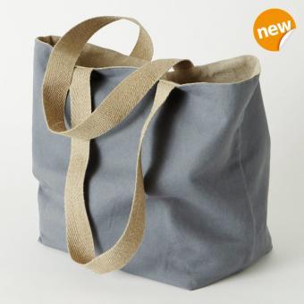 Shopper/Wendetasche aus Leinen und Baumwolle Farbe Grau/Natur