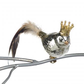 Vogel mit Krone und Federn als Klipp