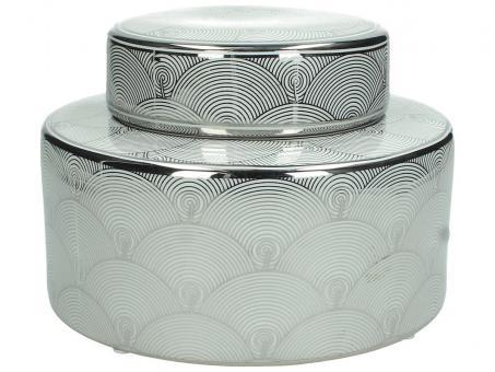 Dose aus Porzellan mit abstraktem Muster, Farbe Weiß/Silber, 23cm