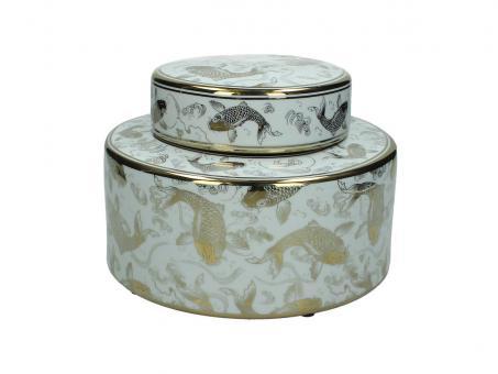 Dose aus Porzellan mit Koi Muster, Farbe Weiß/Gold, 23cm