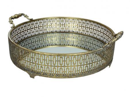 Spiegeltablett aus Metall, rund, Farbe Gold