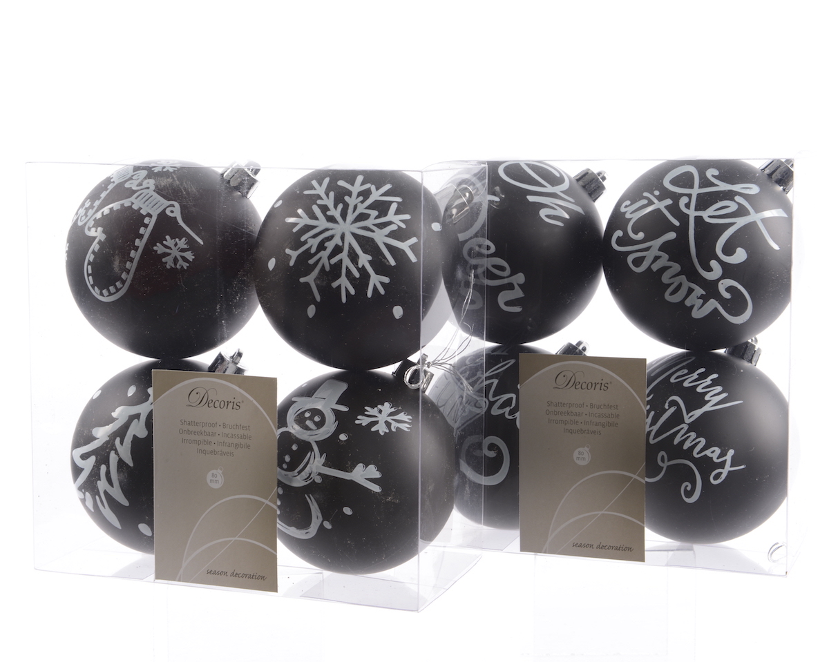 weihnachtskugeln bruchfest farbe schwarz mit motiv bild online kaufen. Black Bedroom Furniture Sets. Home Design Ideas