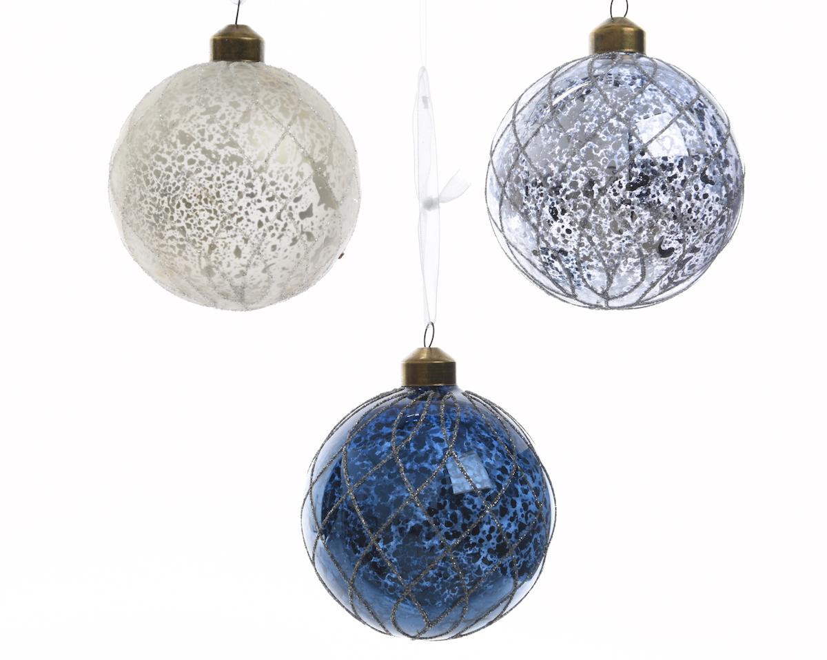 Weihnachtskugeln Blau.Weihnachtskugeln Eis Glitter 3fach Sortiert Farbe Weiß Und Blau
