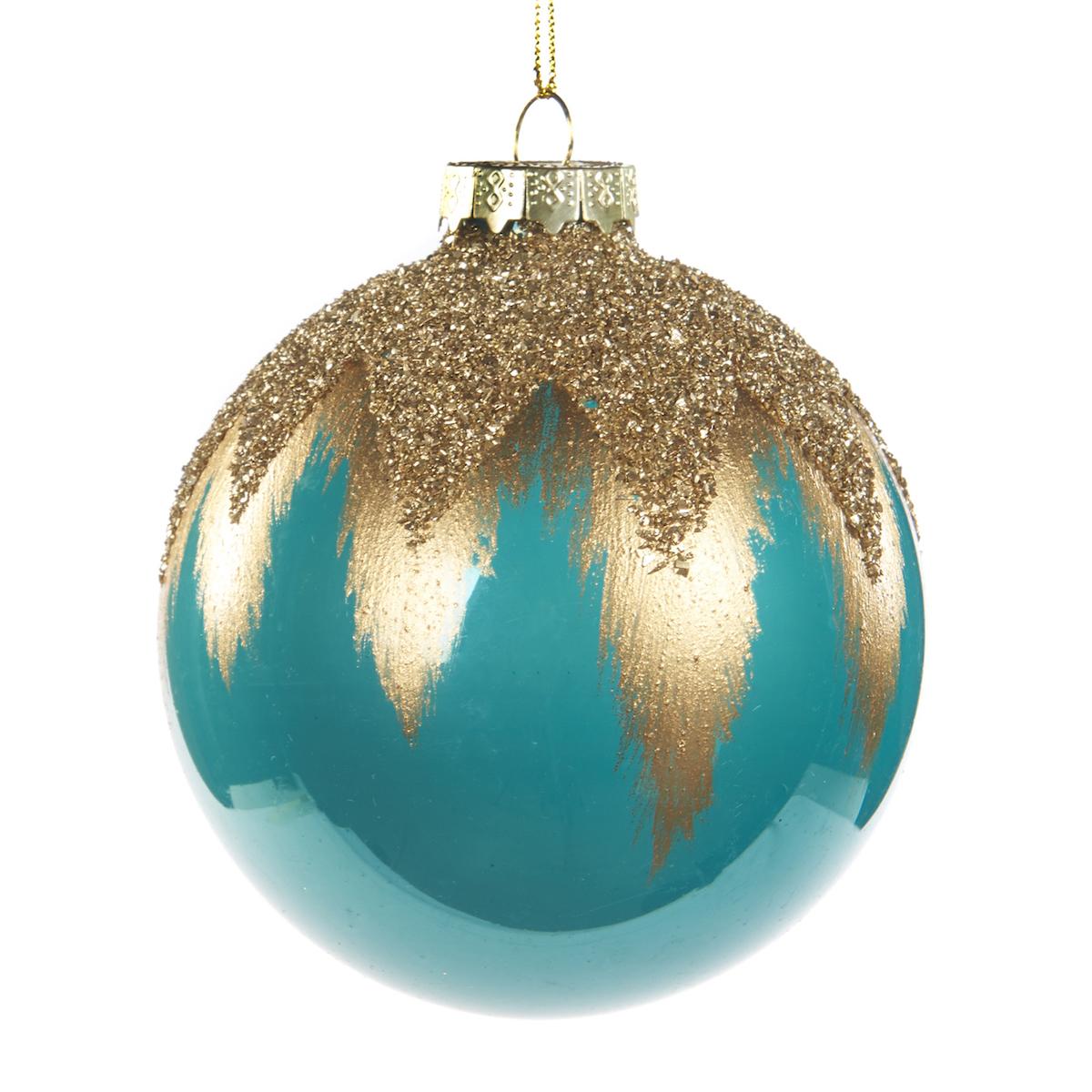 weihnachtskugel aus glas farbe t rkis mit golddetails. Black Bedroom Furniture Sets. Home Design Ideas